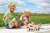 Messy Children Painting