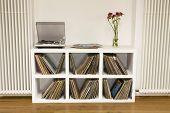 Closeup of shelf with vinyl records