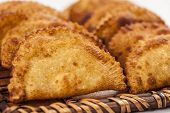 pic of pasteis  - Pastel a Brazilian snack in a white background - JPG