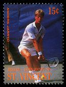BEQUIA - CIRCA 1988: A stamp printed in Grenadines of St. Vincent shows Tennis Players Anders Jarryd