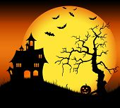 Halloween haunted castle with bats and tree