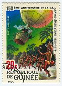 GUINEA - CIRCA 1978: A stamp printed in Guinea shows image of the Jules Verne novels, circa 1978.