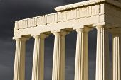 Ancient greek temple on a stormy day