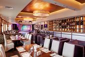stock photo of european  - new and clean luxury restaurant in european style - JPG