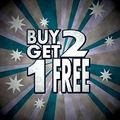 Buy Two Get One Free Icon  On Retro Star Background