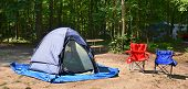 Campsite With Chairs And Tent