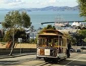 The famous cable car in San Francisco, USA