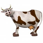 Cow, Isolated On The White Background