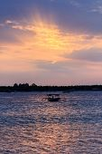Local Fishing Boat At Sunset