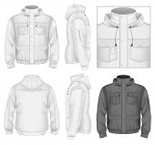 Photo-realistic vector illustration. Men's flight jacket with hood design template (front view, back
