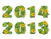 New Year 2014, 2013. Date Lined Green Leaves With Drops Of Dew And Flowers.