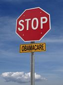 stock photo of lobbyist  - stop obamacare ahead conceptual directional post over blue sky - JPG
