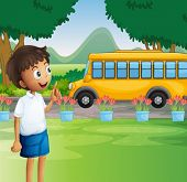 stock photo of kinetic  - Illustration of a young boy ready for school - JPG