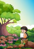 Illustration of a girl doing her assignment outdoor