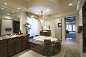 picture of mirror  - View of a modern and spacious bathroom at home - JPG