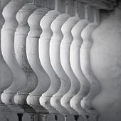 Row Of White Balusters. Abstract Classical Architecture Fragment