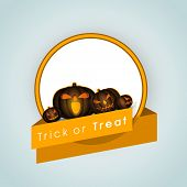 Halloween pumpkin with yellow ribbon on blue background, Can be use as sticker, tag or label for Tri