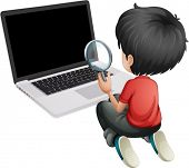 Illustration of a boy in front of a laptop holding a magnifying lens on a white background