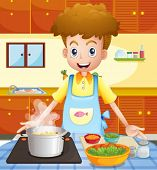 image of teen smoking  - Illustration of a kitchen with a man cooking - JPG