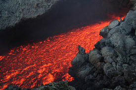 picture of magma  - Etna vulcan lava magma in Sicily during an eruption  - JPG