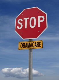 foto of lobbyist  - stop obamacare ahead conceptual directional post over blue sky - JPG