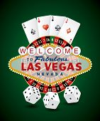 vector french roulette wheel with Las Vegas sign, playing cards and dice