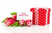 Beautiful Tulips With Red Polka-dot Gift Box. Happy Mothers Day, Romantic Still Life,