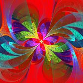 Multicolor Beautiful Fractal Flower On Orange Background. Computer Generated Graphics.