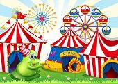 Illustration of a carnival with a green three-eyed monster