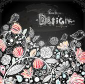 Stylish floral background, hand drawn retro flowers. Chalk style, Chalkboard background. Blackboard illustration variant.