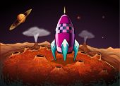 picture of outerspace  - Illustration of a rocket at the outerspace near the planets - JPG