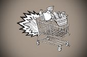 E commerce doodle against grey background with vignette