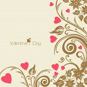 Happy Valentines Day celebrations greeting card with floral decorated brown background, can be use as flyer, banner or background.