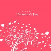 Happy Valentines Day celebrations greeting card with floral decorated design on pink background, can be use as flyer, banner or poster.