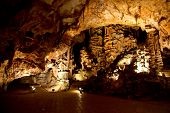 foto of stalagmite  - Beautiful cave with many stalagmites and stalactites inside - JPG