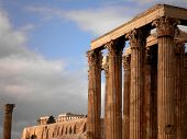 stock photo of olympian  - A view of Olympian Zeus Temple and the Acropolis - JPG