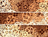 Horizontal Abstract Banners Of Gear Wheels.