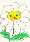 Naive Drawing On Paper Made The Child - Chamomile Flower With Face
