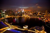 SINGAPORE - APRIL 15: A view of city from roof Marina Bay Hotel on April 15, 2012 on Singapore. This