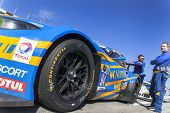 Daytona Beach, FL - Jan 25, 2014:  The Turner Motorsport BMW prepares for the Rolex 24 at Daytona at