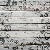 Various social icons on old wooden surface