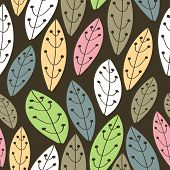 Seamless Background With Tracery Colored Leaves