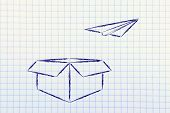 Paper Airplane Flying Our Of A Box: Think Outside The Box