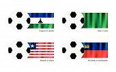 Soccer Ball With Lesotho, Libya, Liberia And Liechtenstein Flag