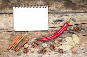 White Blank Recipe Notepad With Spices On Wood Background