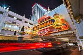 ATLANTIC CITY, NJ - SEPTEMBER 8, 2012: Taj Mahal Casino at night. The casino is owned by Trump Enter