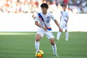 CARSON, CA. - FEB 01: Korea M Min-Woo Kim #15 in action during the U.S. mens national team soccer fr