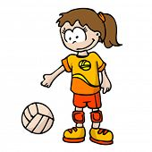 cartoon illustration of volleyball girl
