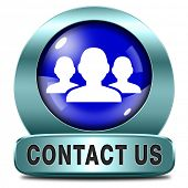contact us here for feedback blue metal  icon or sign. Coordinates and address for customer support