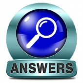 answers blue icon indicating way to solve problems answer button answer icon search answer and disco